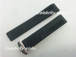 Wholesale End Clasps - 20mm New Men's Curved end Black Diving Silicone Rubber Holes Watch Band Strap Include Silver buckle For TAG Heuer Watch