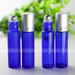 Wholesale Metal Bottle Caps - 10ml Frosted & Blue Glass Essential Oil Bottles Wholesale for Lip Balm with Stainless Steel Metal Roller Ball Roller Bottles And Silver Caps