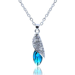 Wholesale Crystal Tear Drop Necklace - Austrian Crystal WaterDrop Pendant Necklaces Full Rhinestone Silver Plated Tear Drop Necklaces Women Bridal Bridesmaid Wedding Party Jewelry