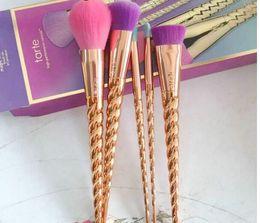 Wholesale Contour Hair Color - 2017 makeup brushes sets cosmetics brush 5 bright color rose gold Spiral shank make-up brush unicorn screw makeup tools MAKEUP Contour
