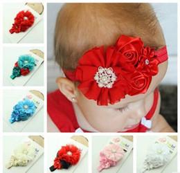 2019 rose hairband 30 PCS 5 fleurs nouveau-né bandeau Lovely bébé cheveux accessoires en mousseline de soie Roses princesse fleur hairband 6 couleur rose hairband pas cher