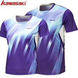 polyester badminton t shirts Promo Codes - Wholesale-Kawasaki High Quality Lovers Fashion Badminton T-Shirts Breathable Outdoor Sport Clothing For Men And Women ST-16125 16225