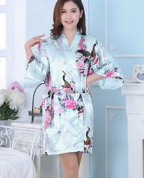 Kimonos de seda japoneses online-14 colores S-XXL de las mujeres atractivas de seda japonesa kimono túnica pijamas pijamas ropa de dormir flor rota kimono ropa interior 10pcs / lot