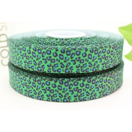 """Wholesale Blue Green Baby Hair - 7 8"""" 22mm Popular Green Blue Leopard Patterns Printed Grosgrain Ribbon Baby Craft Gift DIY Hair Accessories A2-22-1813"""