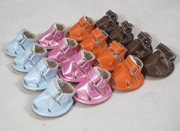 Billige blaue sandalen online-Neue ankunft neue ankunft billige pet puppy dog sandalen schuhe leder material sandalen für haustiere blau, lila, orange, braun farbe heißer verkauf