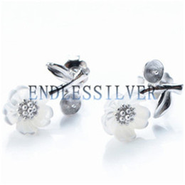 Wholesale wholesale shell jewellery - Stud Earring Settings Leaf White Shell Flower Design 925 Sterling Silver DIY Mountings Jewellery Findings for Pearl Party
