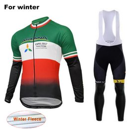 Wholesale Astana Cycling Clothes - 2017 ASTANA Winter Thermal Fleece Cycling Jersey Bib Set Super Warm Outdoor Sport Coat Bicycle Clothing Suit with 9D Gel Pad