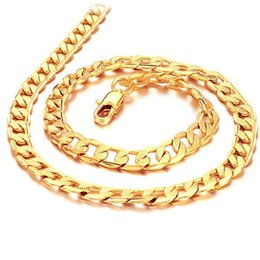 """Wholesale Healthy Fashion - ZHF JEWELRY HOT SALE Fashion chain Men's 20"""" 7MM 18K Gold Plated Steel male Necklaces for men dKL441"""