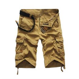 2019 calças curtas do exército Atacado-Mens Carga Shorts 2016 Brand New Camuflagem Do Exército Shorts Homens Algodão Solto Trabalho Calças Curtas Casuais Plus Size Sem Cinto desconto calças curtas do exército