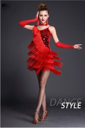 Wholesale Latin Dresses Woman Dance - Wholesale-2016 Latin dance dress performance wear adult tassel sequins clothing customize women ballroom dance dress for latin dancing