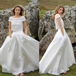 Wholesale Marie Red - Marie Laporte Two Pieces Wedding Dresses Jewel Neck Lace Applique Bridal Gowns Pocket Short Sleeve Sweep Train Plus Size Satin Wedding Dress