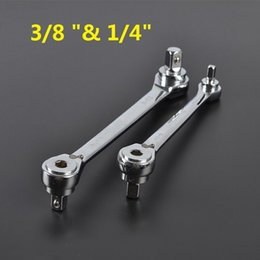 """Wholesale Multi Purpose Sockets - Wholesale- Free shipping high quality multi-purpose ratchet wrench 3 8 """"& 1 4""""socket wrench dual-use tools aftermarket"""