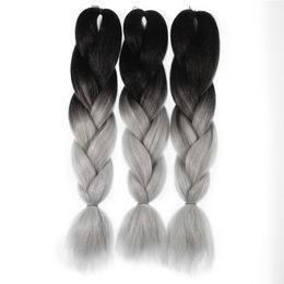 "Wholesale Dark Auburn Long Hair Extensions - High Quality Ombre Color Long 24"" Kanekalon Jumbo Braiding Hair Extension 100g pc 3pcs Lot Ombre Color 1-11"