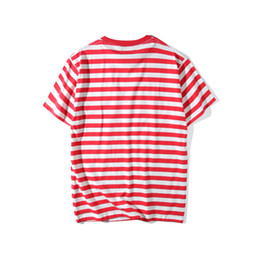 Wholesale Blue Striped T Shirt Women - 2017 A$AP ASAP Rocky street brand new striped men hip hop short sleeved t-shirts women Embroidery fashion tee tops tshirts off white S-XL