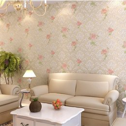 Wholesale Embossing Wallpaper - 10M*0.53M European Luxury Non Woven Damask Wallpapers Embossing Flocking 3D Textured Environmental Wallpaper for Home Decoration Wall Decor