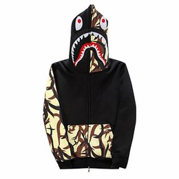 Wholesale Towel Stitch - shark head men hoody towel embroidery stitching plus velvet hooded hip hop hoody street fashion cardigan