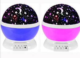 Wholesale Projector Pink - Hot USB Laser LED Projector Romantic Rotary Sky Stars Cosmos Star Projector Lamp Cosmos Moon Stars 360 Rotating Round Night Light Lamp