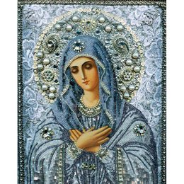 Wholesale Needlework Pictures - diy diamond painting cross stitch Needlework 5D diamond embroidery round Crystal resin diamond picture mosaic religious picture