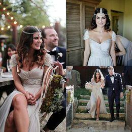 Wholesale Silver Beach Wedding Dress - Simple Silver Chiffon Cheap Wedding Dresses Cap Sleeve Floor Length Beaded Long Bridal Gown 2016 Beach Wedding Dresses Split Bohemian Dress