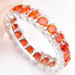 Wholesale Lucky Ring Red - 5 Pieces 1 lot Lucky Shine Family Gift Delicate Full Fire Garnet Crystal 925 Sterling Silver Rings Russia American Australia Wedding Rings