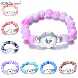Wholesale Beaded J - 20pcs lot 18mm snap button beaded bracelet & bangle Mixed color Stone charm bracelet Fit 18mm snap button Jewelry for women SZ0117a-j