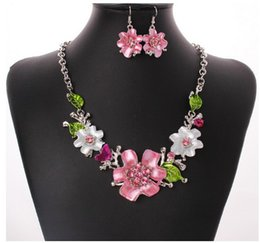 Wholesale Womens Necklace Silver Chunky - Womens Flower Jewelry Sets Enamel Floral Choker Chunky Statement Pendant Bib Necklace Earring Jewelry Gift Set