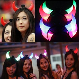 Wholesale Headdress Tires - HOT Glowing horn head band A cartoon headdress gleam hoop head buckle party tire children adults festival toys Christmas gifts 500pcs