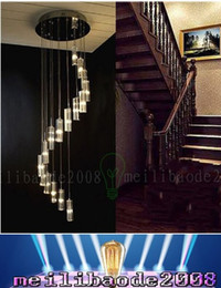 Wholesale Crystal Ceiling Mount - K9 Crystal Rod Spiral Ceiling Light Modern Creative LED Loft Chandelier Living Room Hotel Bar Light Fixture Chandelier Light MYY69