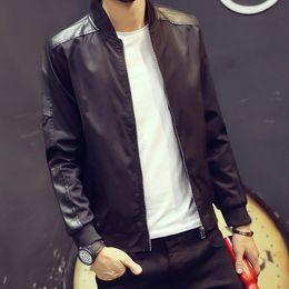 Wholesale Large Mens Coats Jacket - Fall-Mens Jacket Coat Brand-Clothing Winter PU Leather Jacket Men Thick Velvet Jaqueta Couro Winter Coat Jackets M-4XL Large Size