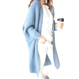 Wholesale Ladies Long Red Cardigan Sweater - Long Cardigan Autumn Winter Women Sweater Ladies Solid Knitted Overcoat Casual Loose Poncho Female Oversized Sweater FS3068