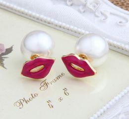 Wholesale Red Lip Studs - Hot sale creative ear studs double side pearl earrings women's fashion sexy red lip pearl studs