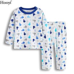 Wholesale Boys Christmas Pajamas 12 - Blue Whale Baby Clothes Suit At Home 100% Cotton Boys Sleepwear Top Quality Children T-Shirt Pant Set 3-6 6-12 12-18 18-24 Month Pajamas