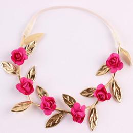Wholesale Gold Leaf Headbands - flowers Vintage baby headband ,Gold Leaf and hot pink Rose Flower Garland ,Newborn Headband ,Baby Girls Headwarps ,Toddler flower crown