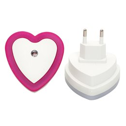 Wholesale Heart Shaped Plugs - Wholesale- ITimo EU Plug LED Night Light Heart Shape Light Sensor Bedside Lamp Cute Nightlights Bedroom Decoration Wall Lamp