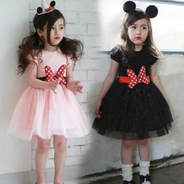 Wholesale Dress Minnie Kids - 5pc lot 2016 Fashion Children kids Summer short sleeve Minnie bow belt dresses Baby Girls party Princess gauze Dresses kids clothing