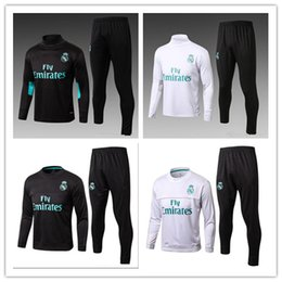 Wholesale Track Suits Jackets - 17 18 Real Madrid Soccer Tracksuit Jacket Suit Man City Track Suit Jogging Football Tops Coat Pants Adults Training Tracksuit Free Express