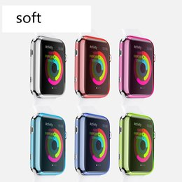 Couleur de paquet montres en Ligne-Pour Iwatch Cas Couleur Ultra Mince Apple Watch Case Clear TPU Couverture Pour Apple Watch 38mm 42mm Iwatch Sans Retail Package 100 Pcs