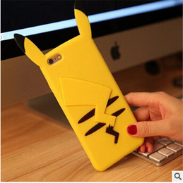 Wholesale iphone cases pikachu - Fashion 3D Cartoon Pikachu Soft Silicone Rubber Case Cute Phone back Cover Skin for iphone 5S SE 6 6S plus