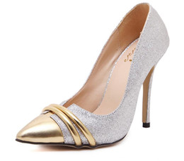 Wholesale Bride Low Heel Shoes - New Arrival Women's pumps Ladies shine pointed High heels shoes for woman MS wedding bride shoes dress shoes NY85