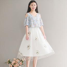 Wholesale Teenagers Skirts - Teenagers 2017 New Pattern Summer Wear Student Small Fresh Embroidery Half-body Skirt Girl Fashion All-match Gauze Skirt 1626353316