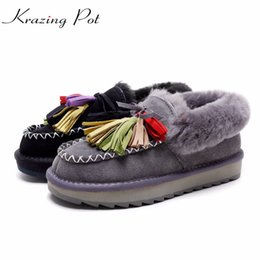 Wholesale Wedge Ankle Wool Boots - 2018 cow suede sheep fur wool wedges colorful tassel beauty round toe superstar streetwear keep warm snow boots L11