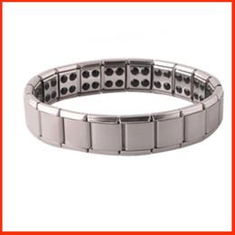 Wholesale Magnetic Jewelry Bracelet Health - Health bracelets magnetic GE power titanium steel Magnetic Energy 80 Germanium Power Bracelet energy Balance bangles fashion jewelry 160816