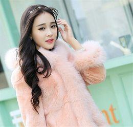 Wholesale Skirt Rabbit Fur - DHL Free Shipping Winter Women Plus Size Coat Fashion Long Rabbit hair Jackets Wholesale Fox Fur Ladies Outwear For Women