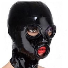 Wholesale people masks - 2018 New Bodystocking Sexy Lingerie Bodysuit Latex Mask Hoods Fetish black Women unisex Hoods Crimping side Mouth eyes side Plus