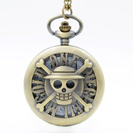Wholesale Womens Plastic Watches - ONE PIECE FILM GOLD Popular Animated Movie Quartz Pocket Watch Analog Pendant Necklace Mens Watches Womens Mens Boy Gift