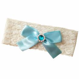 Wholesale Blue Ribbon Wholesale - Wedding Vintage Stretch Light Blue Ribbon Bow with Diamon Bridal Vintage Lace garter Customized