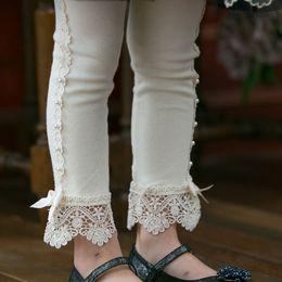 741a9c98958ffa lace bottom leggings Promo Codes - New Springs Autumn Children Princess  Leggings Girl Beaded Lace Cotton