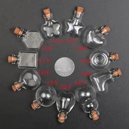 Wholesale Empty Glass Necklace Vials - 30pcs Clear Wishing Bottle Pendants Empty Corks Glass Hand-Blown Vial Necklace