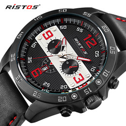 Wholesale Russia Pins - 2017 New Luxury Ristos Brand Fashion Sport Quartz Watch Men Business Watch Russia Army Military Corium Leather Strap Wristwatch hodinky