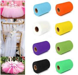 """Wholesale Tulle Fabric For Tutus - Fashion DIY 6""""x 25YD Pure Color Tulle Roll Spool Tutu Dress Fabric Craft Wrap Decor for Wedding Party Home Gift Box"""